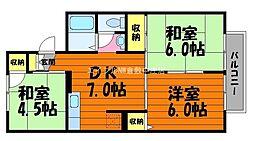 岡山県倉敷市日吉町の賃貸アパートの間取り