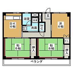 ビレッジハウス四郎丸3号棟[1階]の間取り