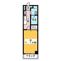 アルステージ武蔵小杉II 4階1Kの間取り