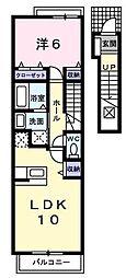 埼玉県さいたま市緑区宮本2丁目の賃貸アパートの間取り