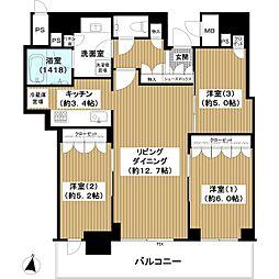 ブランズタワー梅田North 46階3LDKの間取り