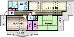 JR東海道・山陽本線 六甲道駅 徒歩7分の賃貸マンション 2階2LDKの間取り