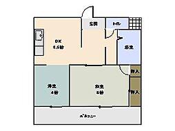 大羽ロイヤルマンション[403号室]の間取り