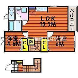 岡山県岡山市東区金岡東町2の賃貸アパートの間取り