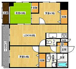 京都府京都市下京区下五条町の賃貸マンションの間取り