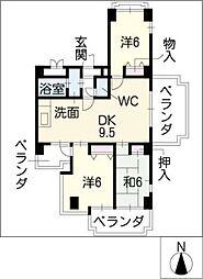 ロイヤルコート光[6階]の間取り