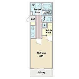 (仮称)東梅坪七丁目計画 2階1Kの間取り