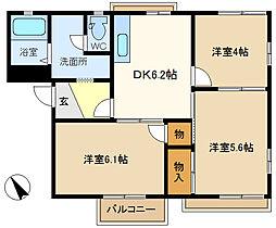 ライフタウニーA街区4号棟 201[2階]の間取り