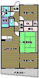 シャルマン和泉[3階]の間取り