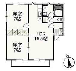 JR山陽本線 西川原駅 徒歩4分の賃貸アパート 1階2LDKの間取り