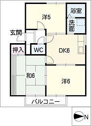 クレールハイツII[1階]の間取り