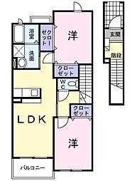 神奈川県大和市深見西7丁目の賃貸アパートの間取り