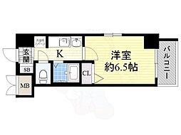 エステムコート大阪ベイエリア 4階1Kの間取り