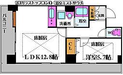 ノルデンタワー新大阪プレミアム 2階1LDKの間取り
