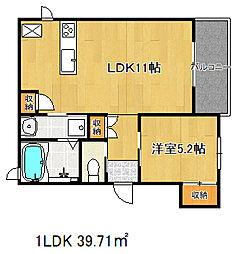 兵庫県神戸市中央区中山手通2丁目の賃貸アパートの間取り
