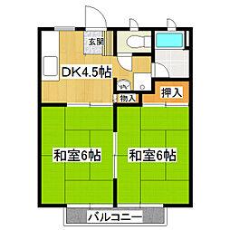 茨城県常総市相野谷町の賃貸アパートの間取り
