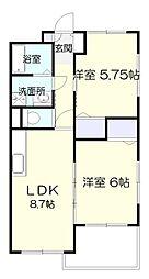 シャトーレ新百合2[3階]の間取り