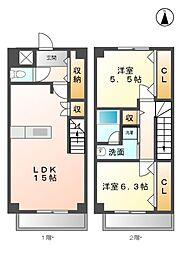 愛知県清須市西枇杷島町大野の賃貸マンションの間取り
