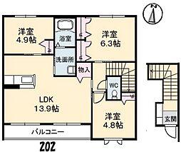 鳳鳴館III[2階]の間取り