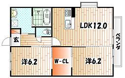 クレールソフィア B棟[2階]の間取り