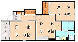ボニートパル A[2階]の間取り