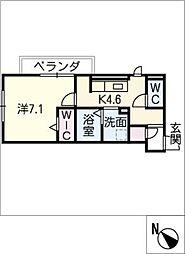 D‐roomビーチルック 2階1SDKの間取り