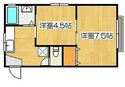 加治木ステーションハイツ[2階]の間取り