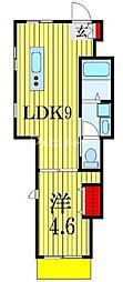 アクアソレイユ 1階1LDKの間取り