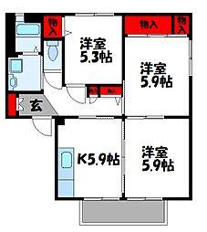 フォレストビューハルダA[2階]の間取り