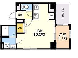 ウィステリア薬院 8階1LDKの間取り