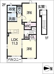 メイプル リーフII[2階]の間取り