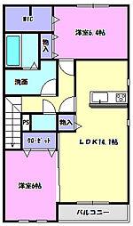 茨城県つくばみらい市富士見ヶ丘3丁目の賃貸アパートの間取り