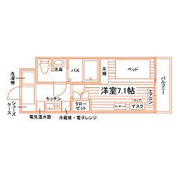 JR越後線 内野駅 徒歩4分の賃貸マンション 3階1Kの間取り