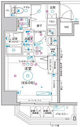 Le'a横濱関内弐番館 11階1Kの間取り