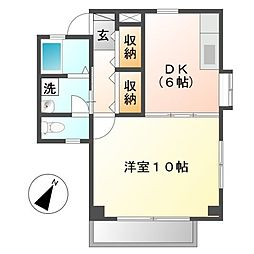 岡山県倉敷市加須山の賃貸アパートの間取り