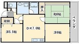 オリーブ阪南 自然邑 2階3DKの間取り