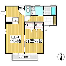 スカイハイツ大門 A棟[2階]の間取り