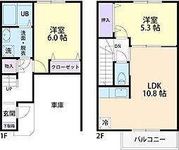 仮称)宇都宮市ガレージタイプテラスハウス 2階2LDKの間取り