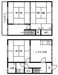 [タウンハウス] 福岡県久留米市上津1丁目 の賃貸【/】の間取り