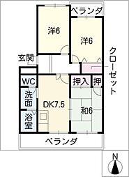 愛知県岩倉市下本町城址の賃貸マンションの間取り