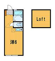 神奈川県横浜市鶴見区市場富士見町の賃貸アパートの間取り