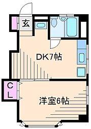 神奈川県横浜市港北区箕輪町1丁目の賃貸マンションの間取り