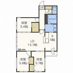北海道札幌市中央区南十一条西13丁目の賃貸マンションの間取り