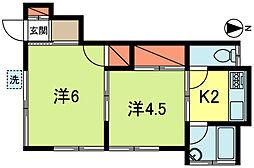 東京都武蔵野市境2丁目の賃貸アパートの間取り