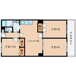 近鉄大阪線 桜井駅 徒歩3分の賃貸マンション 9階3LDKの間取り