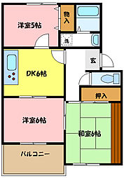 埼玉県さいたま市中央区新中里4丁目の賃貸アパートの間取り
