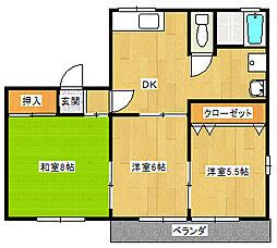 モデラート D[2階]の間取り