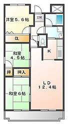 ファミーユ百合[4階]の間取り
