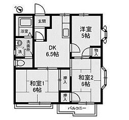 神奈川県相模原市南区東林間4丁目の賃貸アパートの間取り
