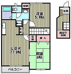 大阪府大阪狭山市東野西1丁目の賃貸アパートの間取り